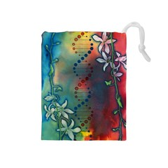 Flower Dna Drawstring Pouch (medium)