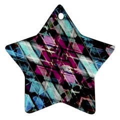 Matrix Grunge Print Star Ornament (two Sides)
