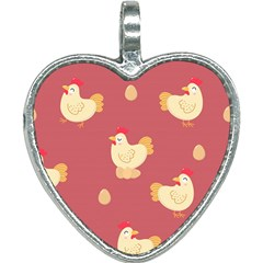 Cute Chicken Eggs Seamless Pattern Heart Necklace