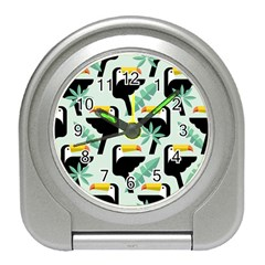 Seamless Tropical Pattern With Birds Travel Alarm Clock by Bejoart