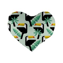 Seamless Tropical Pattern With Birds Standard 16  Premium Heart Shape Cushions
