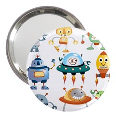 Vector Set Funny Robots Cartoon 3  Handbag Mirrors by Bejoart