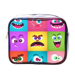 Monsters Emotions Scary Faces Masks With Mouth Eyes Aliens Monsters Emoticon Set Mini Toiletries Bag (one Side) by Bejoart