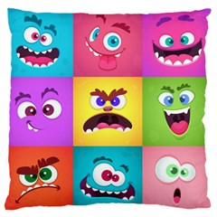 Monsters Emotions Scary Faces Masks With Mouth Eyes Aliens Monsters Emoticon Set Large Flano Cushion Case (one Side) by Bejoart