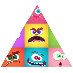 Monsters Emotions Scary Faces Masks With Mouth Eyes Aliens Monsters Emoticon Set Wooden Puzzle Triangle