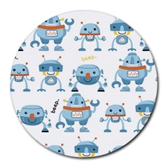 Seamless Pattern With Funny Robot Cartoon Round Mousepads