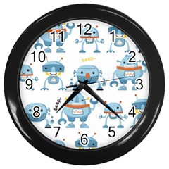 Seamless Pattern With Funny Robot Cartoon Wall Clock (black)