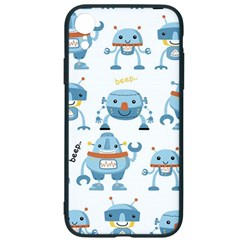 Seamless Pattern With Funny Robot Cartoon Iphone Xr Soft Bumper Uv Case