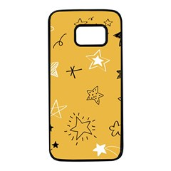 Various Stars Doodle Collection Vector Samsung Galaxy S7 Black Seamless Case