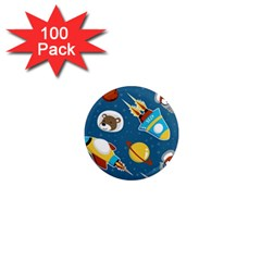 Seamless Pattern Vector With Spacecraft Funny Animals Astronaut 1  Mini Magnets (100 Pack)