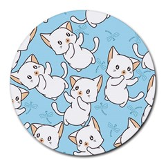 Seamless Little Cat Dragonfly Pattern Round Mousepads