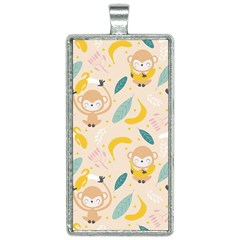 Cute Monkey Banana Seamless Pattern Background Rectangle Necklace by Bejoart
