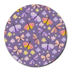 Vector Seamless Pattern With Butterflies Beetles Round Mousepads