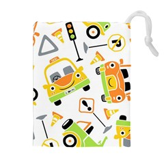 Seamless Pattern Vector Illustration Vehicles Cartoon Drawstring Pouch (xl)