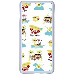 Vector Pattern With Funny Animals Cartoon Summer Holiday Beach Samsung Galaxy S10 Plus Seamless Case(white)