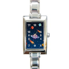 Background-template-with-bright-stars-dark-sky Rectangle Italian Charm Watch by Bejoart