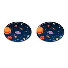 Background-template-with-bright-stars-dark-sky Cufflinks (oval) by Bejoart