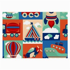 Toy Transport Cartoon Seamless Pattern With Airplane Aerostat Sail Yacht Vector Illustration Large Glasses Cloth (2 Sides)