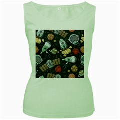 Hand Drawn Pattern Space Elements Collection Women s Green Tank Top