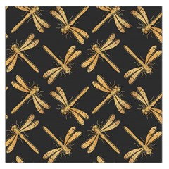 Golden Dragonfly Seamless Pattern Textile Design Wallpaper Wrapping Paper Scrapbooking Large Satin Scarf (square)