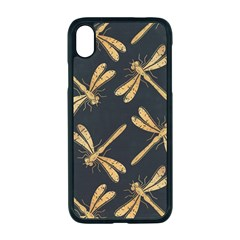 Golden Dragonfly Seamless Pattern Textile Design Wallpaper Wrapping Paper Scrapbooking Iphone Xr Seamless Case (black)