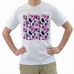 Purple Flower Butterfly With Watercolor Seamless Pattern Men s T-shirt (white) (two Sided)