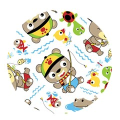 Vector Seamless Pattern Cute Fishing Animals Cartoon Pop Socket (white)