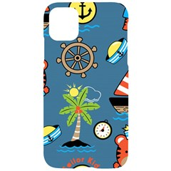 Seamless Pattern With Sailing Cartoon Iphone 11 Black Uv Print Case
