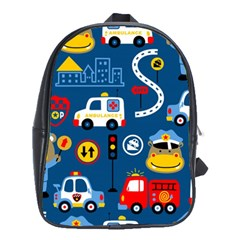 Seamless Pattern Vector Rescue Team Cartoon School Bag (large) by Bejoart