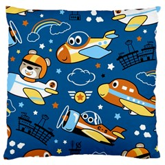Seamless Pattern With Nice Planes Cartoon Large Cushion Case (one Side)