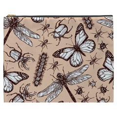 Vintage Drawn Insect Seamless Pattern Cosmetic Bag (xxxl)