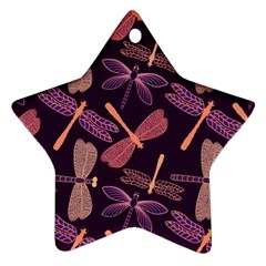 Dragonfly Pattern Design Star Ornament (two Sides)