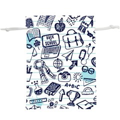 Hand Drawn Back School Pattern  Lightweight Drawstring Pouch (xl)