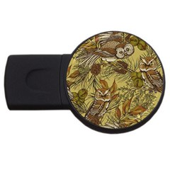 Forest Vintage Seamless Background With Owls Usb Flash Drive Round (4 Gb) by Bejoart