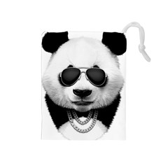 Panda In Black Drawstring Pouch (medium)