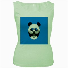 Summer Panda Women s Green Tank Top