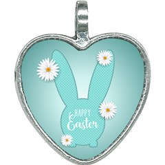 Easter Bunny Cutout Background 2402 Heart Necklace by catchydesignhill