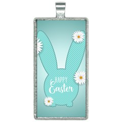 Easter Bunny Cutout Background 2402 Rectangle Necklace by catchydesignhill