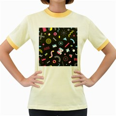 Memphis Design Seamless Pattern Women s Fitted Ringer T-shirt