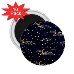 Hand Drawn Scratch Style Night Sky With Moon Cloud Space Among Stars Seamless Pattern Vector Design  2 25  Magnets (10 Pack)