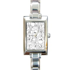 Contemporary Nature Seamless Pattern Rectangle Italian Charm Watch