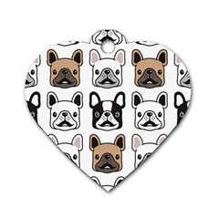 Dog French Bulldog Seamless Pattern Face Head Dog Tag Heart (one Side)