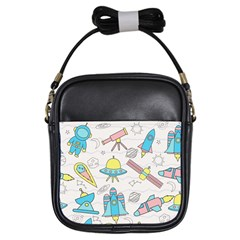 Cute Seamless Pattern With Space Girls Sling Bag by BangZart