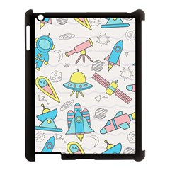 Cute Seamless Pattern With Space Apple Ipad 3/4 Case (black)