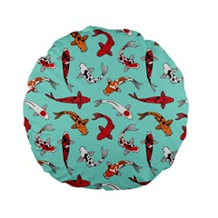 Pattern With Koi Fishes Standard 15  Premium Flano Round Cushions