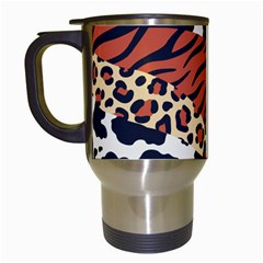 Mixed Animal Skin Print Safari Textures Mix Leopard Zebra Tiger Skins Patterns Luxury Animals Texture Travel Mugs (white)