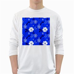 Blooming Seamless Pattern Blue Colors Long Sleeve T-shirt by BangZart