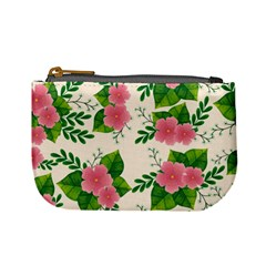 Cute Pink Flowers With Leaves-pattern Mini Coin Purse