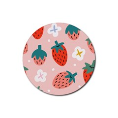 Strawberry Seamless Pattern Rubber Round Coaster (4 Pack)  by BangZart