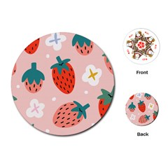 Strawberry Seamless Pattern Playing Cards Single Design (round) by BangZart